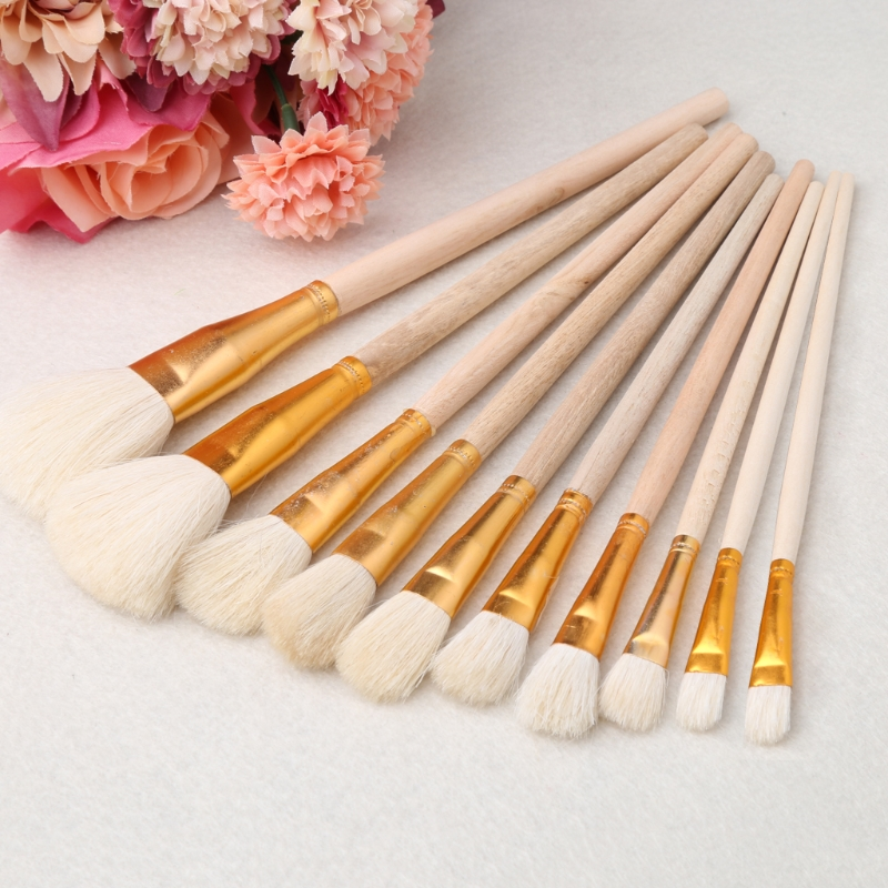 10Pcs Brushes Set For Art Painting Oil Acrylic Watercolor Drawing Craft DIY Kid Student Painting Pen Art Supplies C26