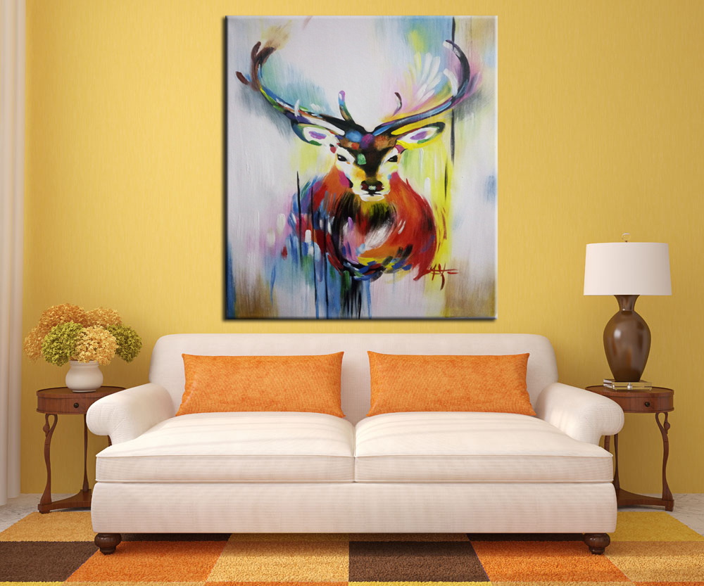Hand painted decorative oil painting wall art Abstract male deer ...