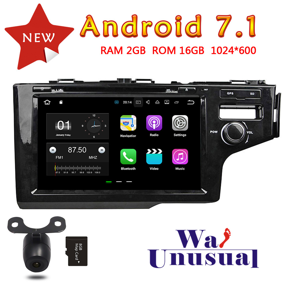 WANUSUAL 8 Quad Core 16G 2G RAM Android 7.1 Auto GPS Navigation for Honda Fit 2014 RHD Radio Player with BT WIFI 1024*600 Maps