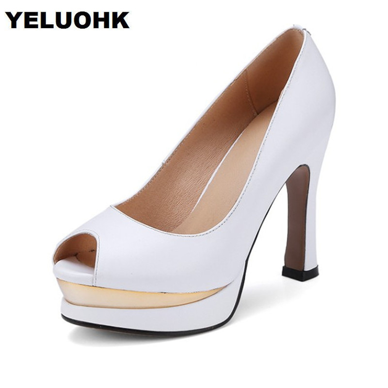 где купить 2018 Brand New Platform Shoes Women Pumps Sexy High Heels White Shoes Open Toes Sandals Women Summer Shoes White High Quality по лучшей цене