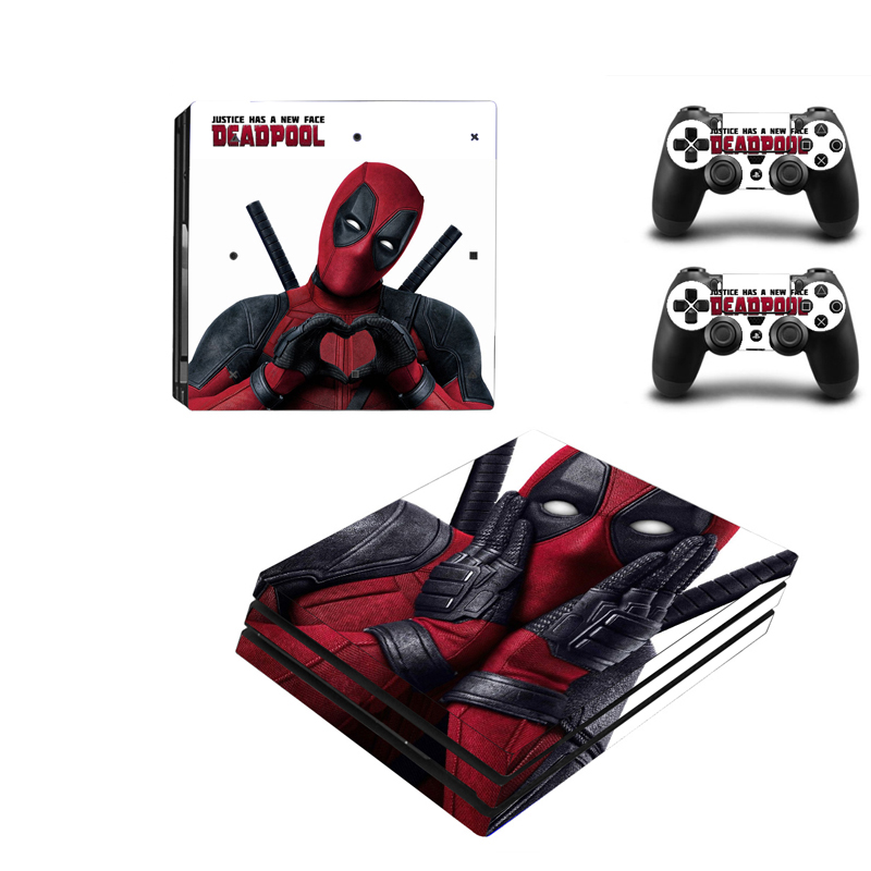 все цены на Deadpool Design Vinyl Skin Sticker Protector For Sony Playstation 4 Pro Console+2PCS Controller Skin Decal Cover For PS4 Pro