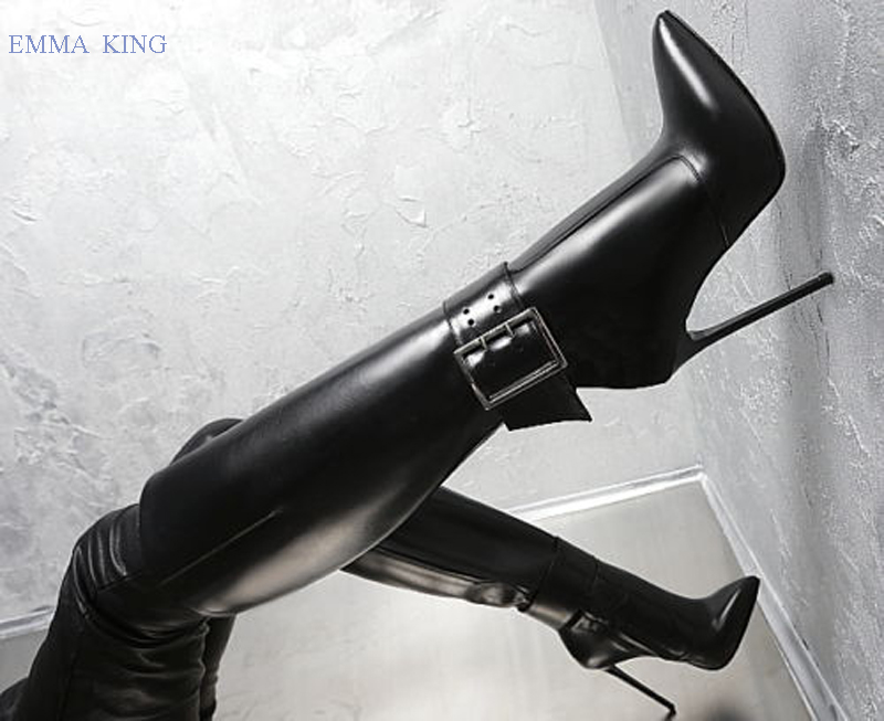 Sexy Women Ankle Belt Stretch Long Boots Pointy Toe Leather Knee High Boots Women Black Stiletto Heels Shoes Woman High HeelsSexy Women Ankle Belt Stretch Long Boots Pointy Toe Leather Knee High Boots Women Black Stiletto Heels Shoes Woman High Heels