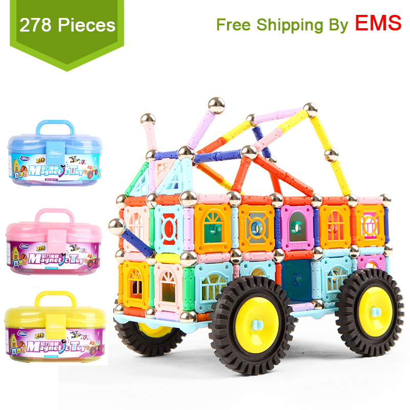 Tensoger 278 Pics Magnetic toys for children Magnet Building Blocks Construction Magnet Sticks Balls Toy Educational DIY Toys magnetic sticks building blocks 218pcs set intelligence toys plastic car toy educational magnet bricks kit for children kids