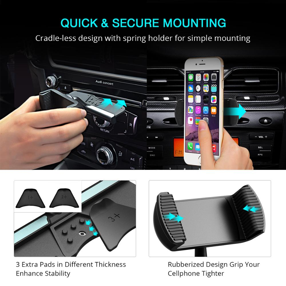 Mpow CD Slot Car Phone Spring Holder 360Degree Rotation Mobile Phone Mount Cradle For iPhone Samsung Xiaomi 4 6 Inch Smartphone in Phone Holders Stands from Cellphones Telecommunications