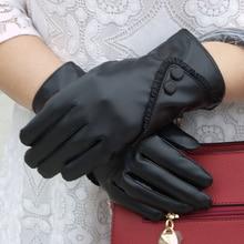 New Women Genuine Leather Gloves Winter Autumn Ladies Fashion Brand Sheepskin Thicken Arm sleeve Warm