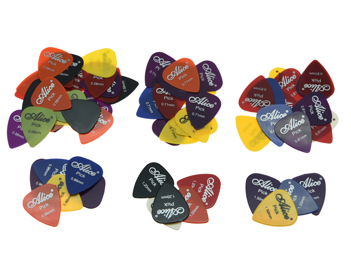 50pcs Alice Glossy ABS Guitar Pick with Assorted Colors 6 Thickness  0.58/0.71/0.81/0.96/1.2/1.5 6 pcs alice triangle guitar pick material celluloid mediator for acoustic electric guitarra thickness 0 46 mm 1 50 mm