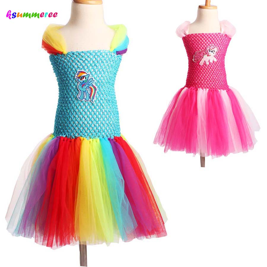 Child Girl Little Horse Tutu Dress Halloween Christmas Birthday Party Dress Rainbow Color Ball Gowns Holiday Girl Costume TS103 children girl tutu dress super hero girl halloween costume kids summer tutu dress party photography girl clothing