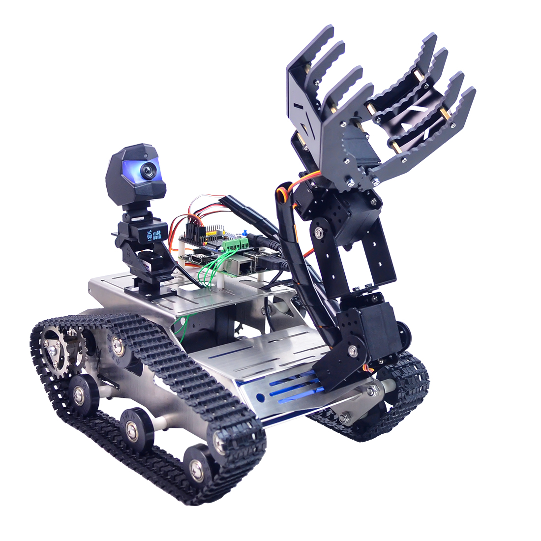 Programmable TH WiFi Bluetooth FPV Tank Robot Car With Arm For Raspberry Pi Line Patrol Obstacle Avoidance Version Large Claw