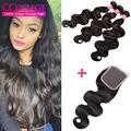 Brazilian Virgin Hair Body Wave With Closure Unprocessed Human Hair Weave 3 Bundles And Lace Closure Hot Wet And Wavy Closure