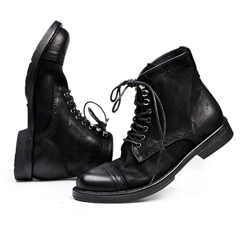 Men Riding leather boots high shoes Vintage 2017 new autumn winter British retro men shoes zipper leather shoes breathable