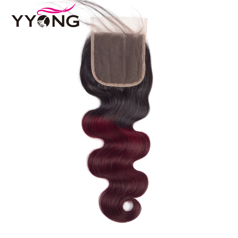 Yyong Peruvian Burgundy 1B 99J Pre Colored Body Wave Lace Closure Ombre Human Hair Remy Hair