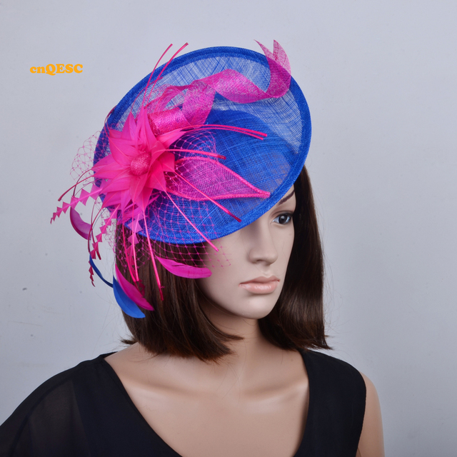 Royal blue hot pink big sinamay fascinator with feathers for Tea Garden  party Royal Races Kentucky derby. bfee7744493