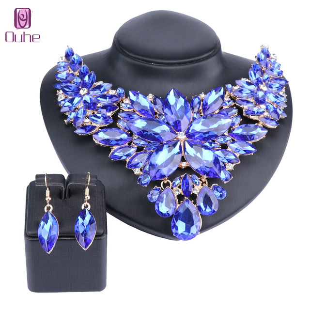Beautiful Flower Jewellery Bridal Jewelry Set Gold Color Crystal