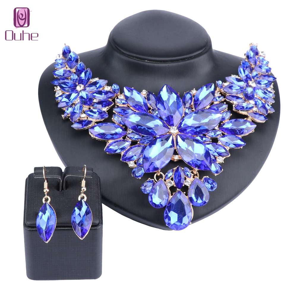 High Quality Crystal Choker Statement Necklace Earring Jewelry Set Rhinestone Wedding Gift Women Brides Prom Party