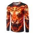 Горячая Продажа!!! мужчины 3D Печати Огонь Cheetah Шаблон Футболка С Длинным Рукавом Мужчины Повседневная slim fit О-Образным Вырезом тигр Футболка Brand Clothing