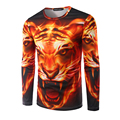 Hot Sale!!! Men 3D Printing Fire Cheetah Pattern T-shirt Long Sleeve Male Casual slim fit O-Neck tiger T Shirt Brand Clothing