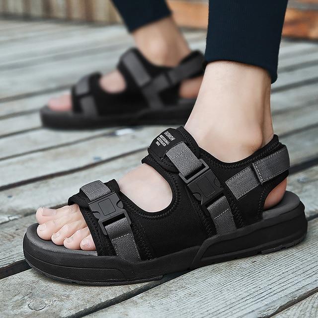 4b36dcadbdeaa Hommes d'été sandales compensées grande taille 45-46 respirant Air Mesh noir  chaussures pour hommes crochet boucle caoutchouc semelle sandales de plage  ...