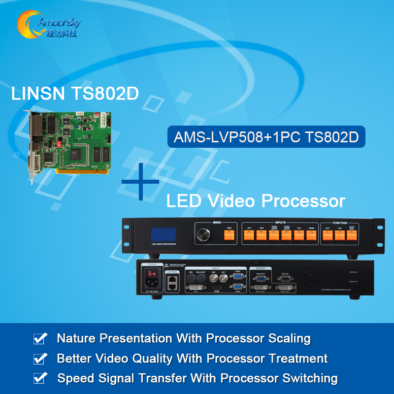 все цены на original led video processor AMS-LVP508+led sending card linsn ts802d video wall processor with full color led control card онлайн