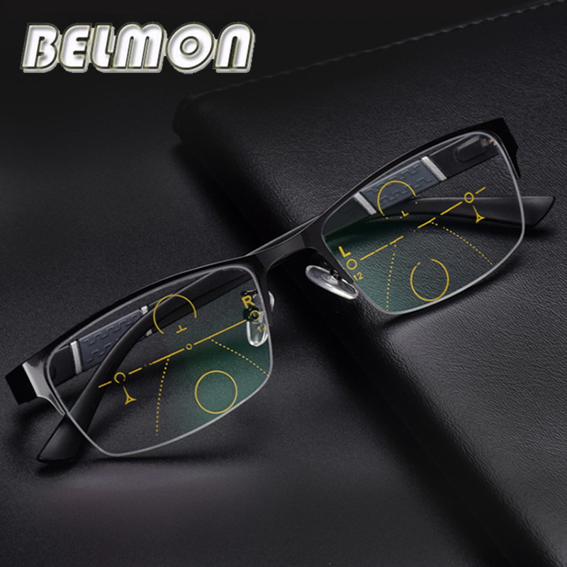 BELMON Multi-Focal Progressive <font><b>Reading</b></font> <font><b>Glasses</b></font> <font><b>Men</b></font> Presbyopic Eyeglasses Diopter Eyewear +1.0+1.25+1.50+1.75+2.00+<font><b>2.25</b></font>+2.5 RS315 image