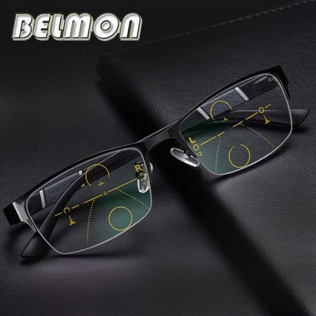 BELMON Multi-Focal da lente Homens Óculos De Leitura Óculos Para Presbiopia  Progressiva Óculos De c5276b74cf