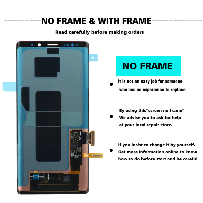 ORIGINAL SUPER AMOLED 6.4'' LCD with frame for SAMSUNG GALAXY Note 9 Note9 N960F Display Touch Screen Digitizer Assembly