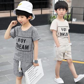 Новые школьные комплекты для мальчиков летние топы и штаны Повседневный детский спортивный костюм с короткими рукавами и надписью детская ... >> hehuayu Store