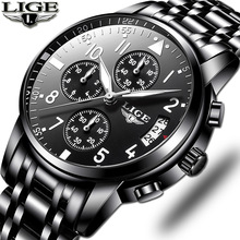 2019 Mens Watches Top Brand Fashion Chronograph LIGE Black Quartz Watch Stainless Steel Automatic Date Watch Relogio Masculino все цены
