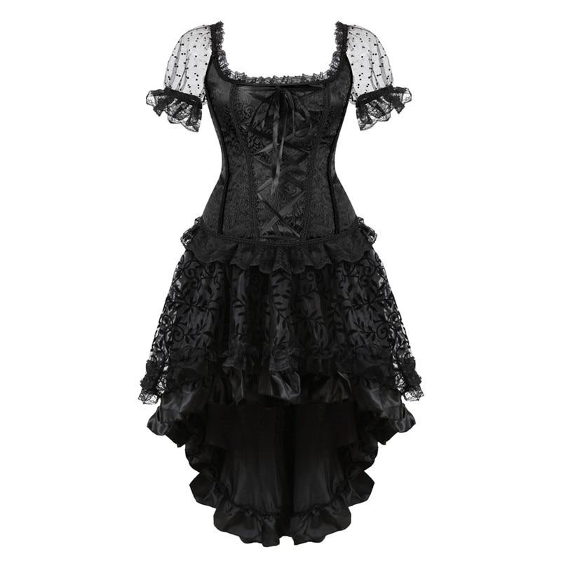Overbust Corset Dress Victorian Plus Size Shoulder Straps Burlesque Sleeves Corset And Skirt Set Lace Flower Black Sexy Lingerie