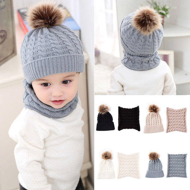 2018 New Baby Boy Knit Girl Winter Hat Toddler Kid Warm Beanie Crochet Cap+ Scarf df8818259749