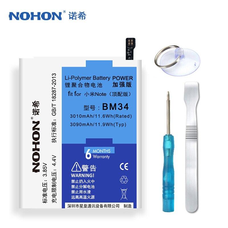 D'origine NOHON BM34 Batterie Pour Xiao mi mi note pro 4 Gb ram 3090 MAH haute capacité De Remplacement Batterie Livraison outils Emballage de Détail
