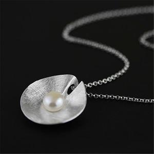 Image 2 - 蓮楽しいリアル 925 スターリングシルバー天然真珠手作りファインジュエリーヴィンテージネックレスなしacessorios女性のための
