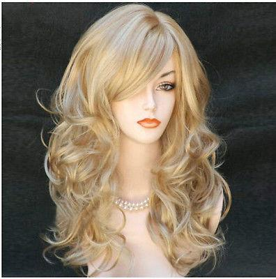 Fashion women Long Wavy Blonde Wigs Sexy Ladies Wigs/wig Cosplay Wigs free shipping wonderful long wavy curly cosplay fancy dress fake party hair wigs