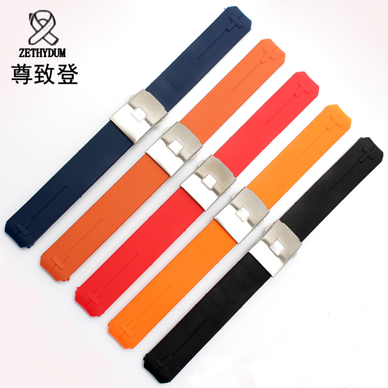 Natural silicone strap 20mm replacement rubber watchband black orange bracelet for T-Touch T33 watch accessories uyoung watchband for casio prg 130y prw 1500yj watch bands black silicone rubber strap climbing bracelet