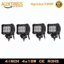 4 Uds 2 uds LED 18W Lámpara de trabajo 4 pulgadas, Barra de luces 24v 12V IP67 SPOT FLOOD para 4x4 OFF ROAD ATV TRUCK BOAT UTV SPOTLIGHT