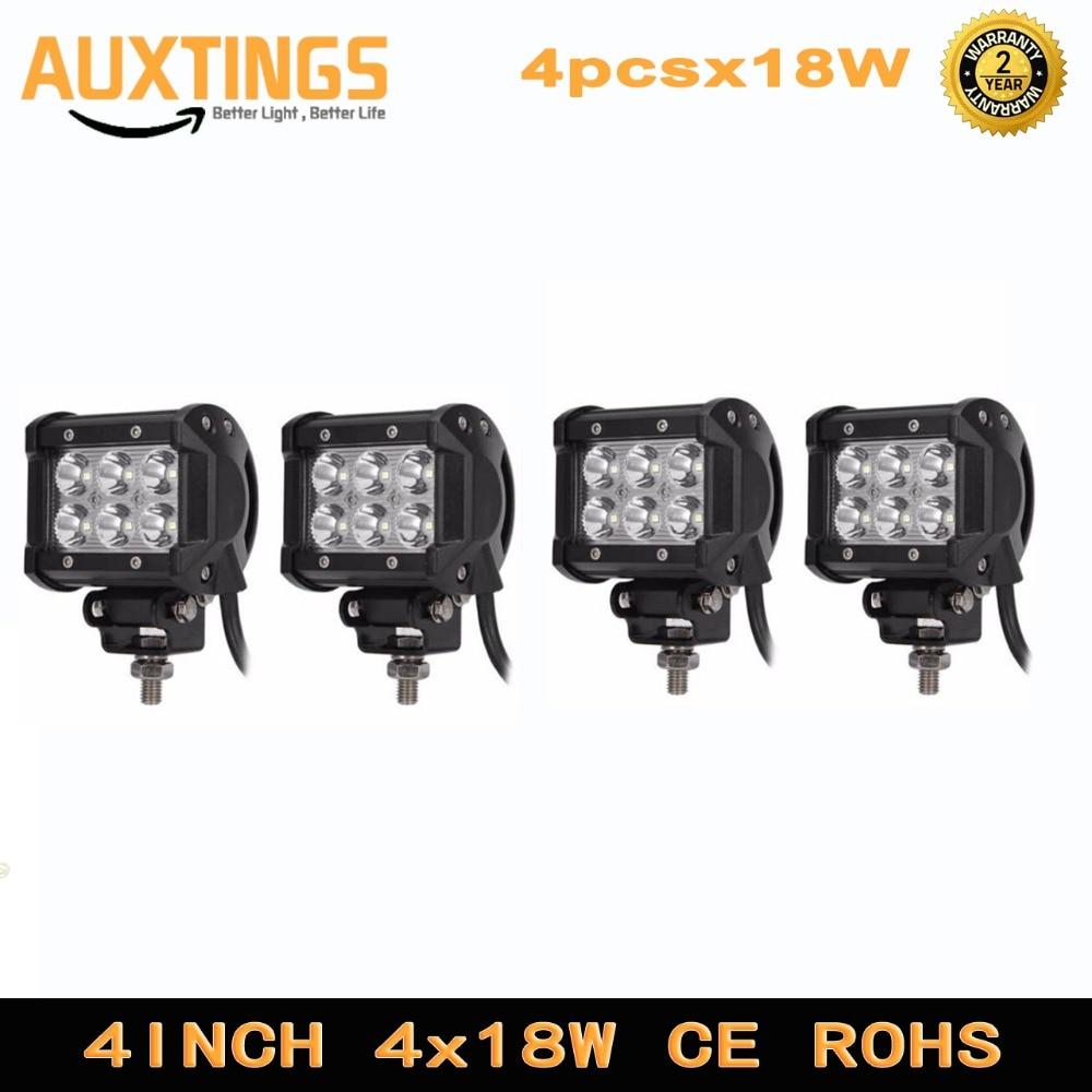 4pcs 2pcs LED 18W Work font b Lamp b font 4 Inch Light Bar 24v 12V