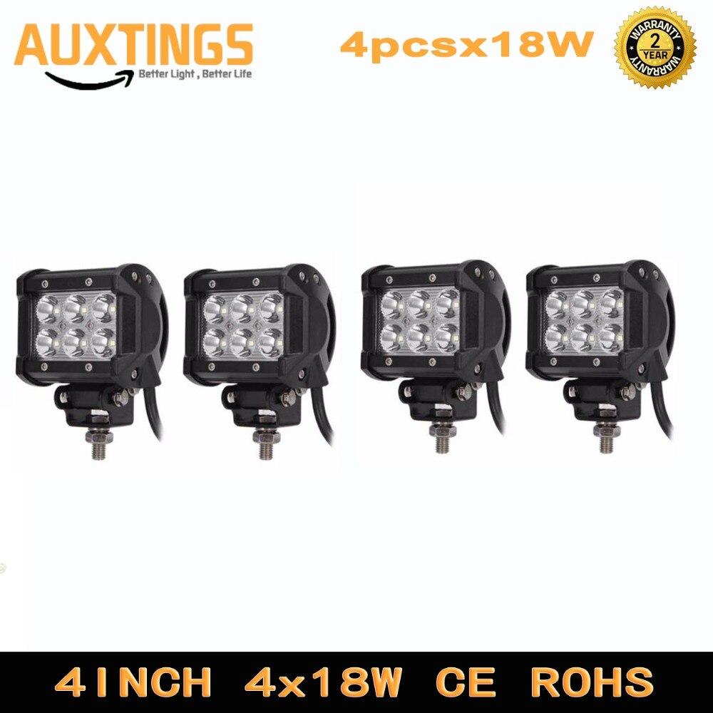 4pcs 2pcs LED 18W Work Lamp 4 Inch Light Bar 24v 12V IP67 SPOT FLOOD FOR 4x4 OFF ROAD ATV TRUCK BOAT UTV SPOTLIGHT