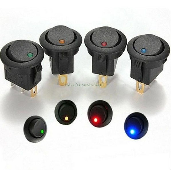 NEW HOT 4Pcs Car 12V 3 Pin Round Rocker Dot Boat LED Light Toggle Switch SPST ON/OFF Sales 5pcs lot high quality 2 pin snap in on off position snap boat button switch 12v 110v 250v t1405 p0 5