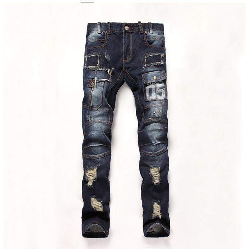 High Quality Mens Ripped Biker Jeans 100% Cotton Slim Fit Motorcycle Jeans Men Vintage Distressed Hole Denim Hip hop Jeans Pant  цена