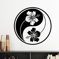 Buddhism Religion Buddhist Black White Yin-yang Flower Silhouette Wall Sticker Art Decals Mural DIY Wallpaper for Room Decal