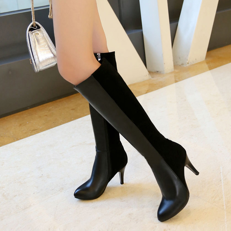 MCCKLE Plus Size Women High Heels Mid Calf Boots Autumn Pointed Toe Sexy Thin Heel Party Ladies Shoes Zipper Fashion Footwear