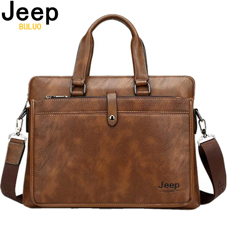 JEEP BULUO Simple Famous Brand Business Men Briefcase Bag Luxury Leather 14 inches Laptop Bag Man Shoulder Bag bolsa maleta 9616