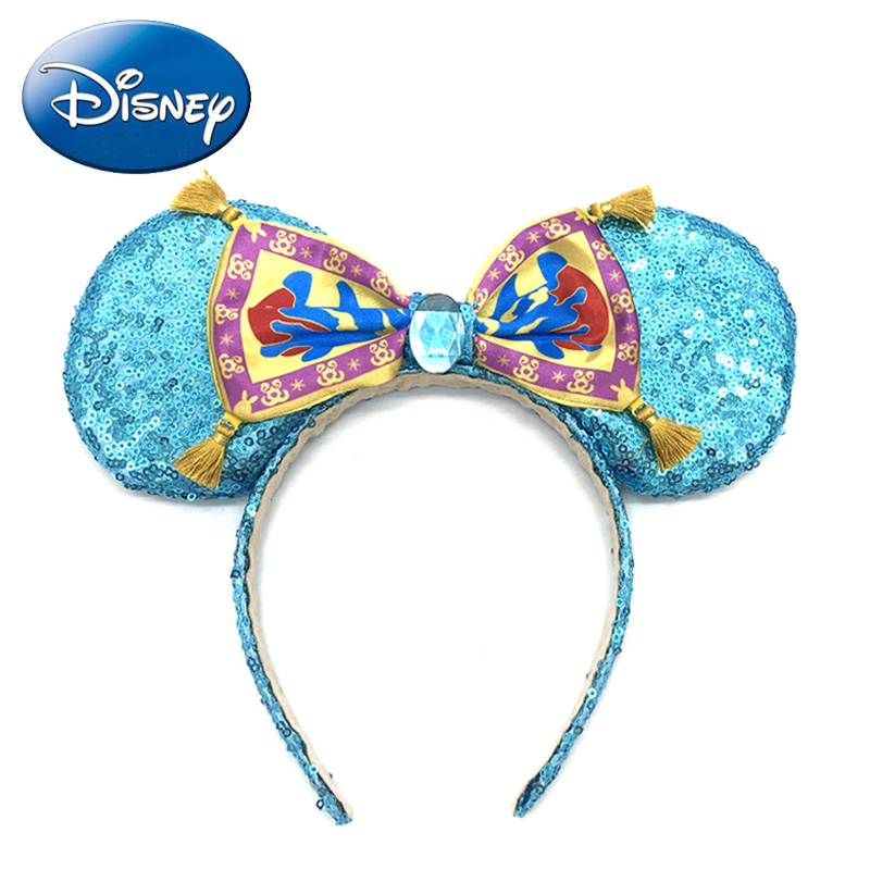 Girls Hair Accessories Minnie Mouse Ears Headband Disney Parks Aladdin Magic Carpet Women Headdress Kids Party Cosplay Costume