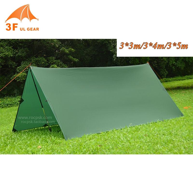 3F Ul Gear 15D Nylon Silicone Ultralight Tarp Awning Sun Shelter Lightweght Camping Equipment 3*3m 4*3m 5*3m-in Sun Shelter from Sports & Entertainment    2