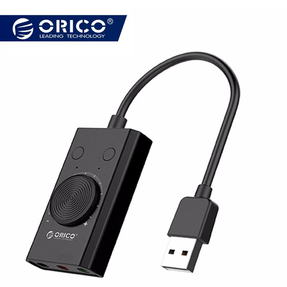 ORICO tarjeta de sonido USB externa Micrófono estéreo altavoz auriculares Jack de Audio de 3,5mm adaptador de Cable mudo interruptor de ajuste de volumen libre coche