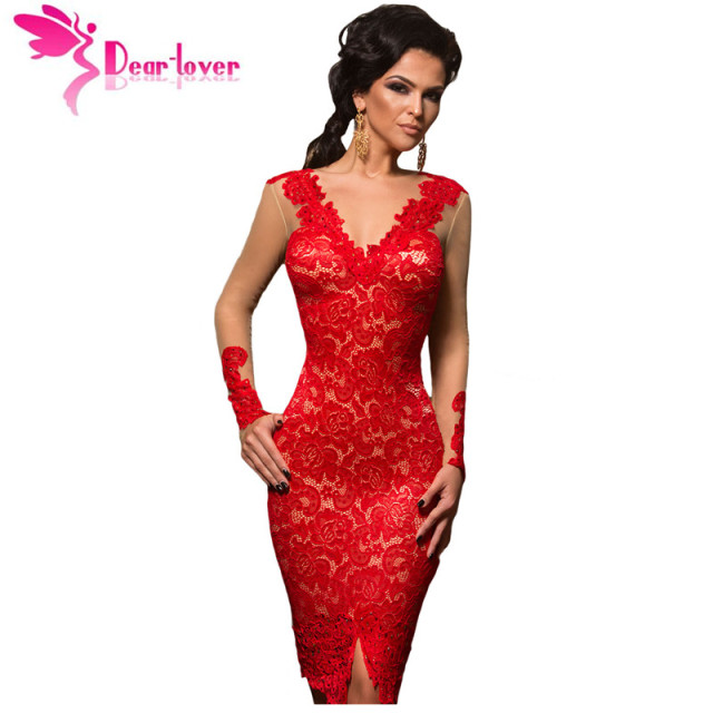 Dear Lover Lace Party Dresses Autumn Red Applique Nude Illusion Women Long Sleeve Midi Dress Christmas Vestido de Renda LC61410