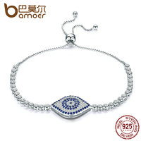BAMOER Trendy 925 Sterling Silver God S Eyes Tennis Bracelet Clear Cubic Zircon Adjustable Link Chain