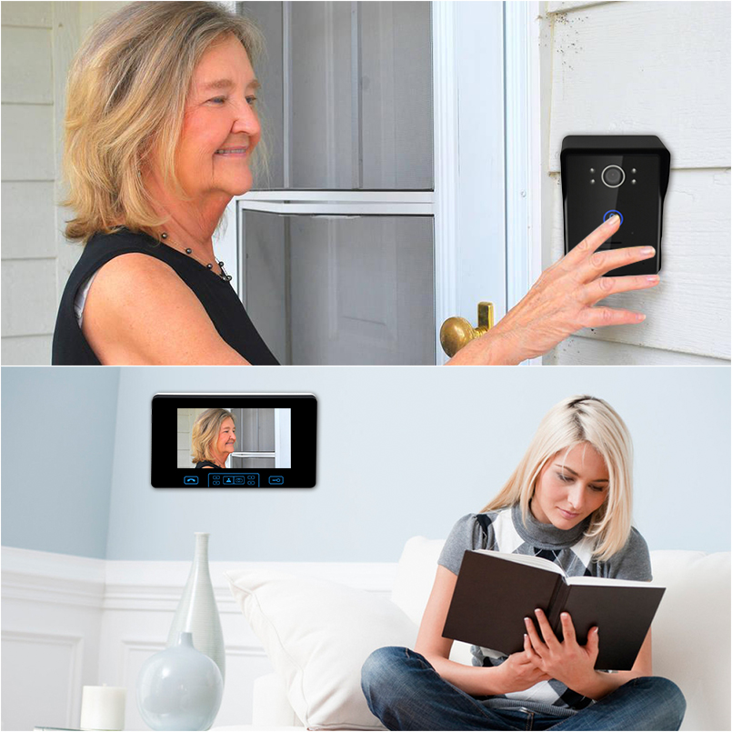 Saful 7 inch Wireless Video Doorbell Intercom 2.4GHz Digital Door Phone System With 1 Monitor Doorbell Camera Doorbell