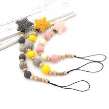 Grey gold pink wool star Pacifier Clip light Dummy Holder felt ball beads Natural beech wooden paci holder NT273