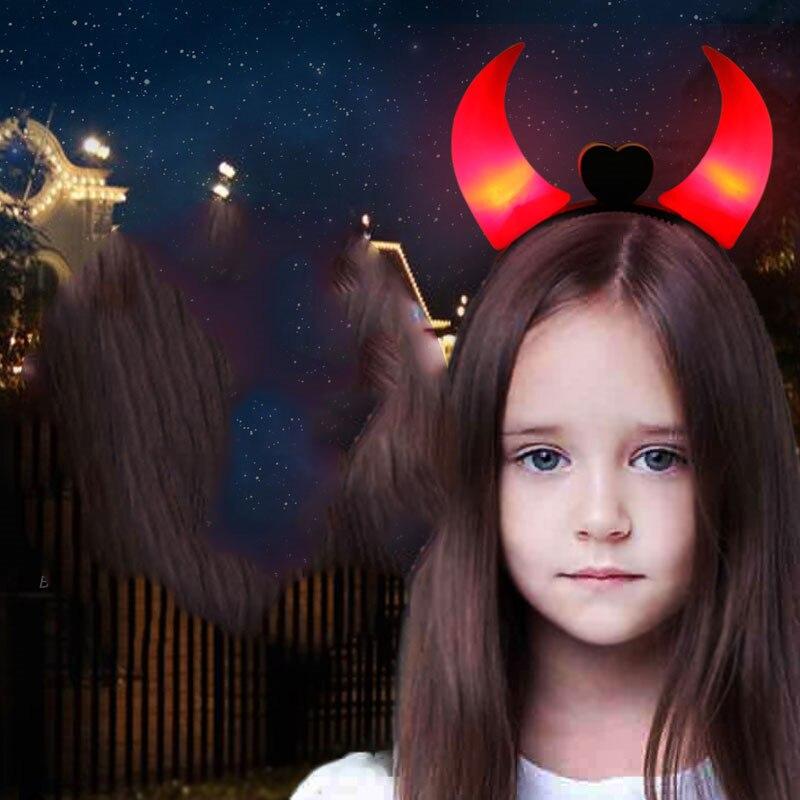 1PC Halloween LED Light Ox Horn Hair Neon Glow In Dark Hair Hoop Headband Costume Fancy Props Headwear Accessories