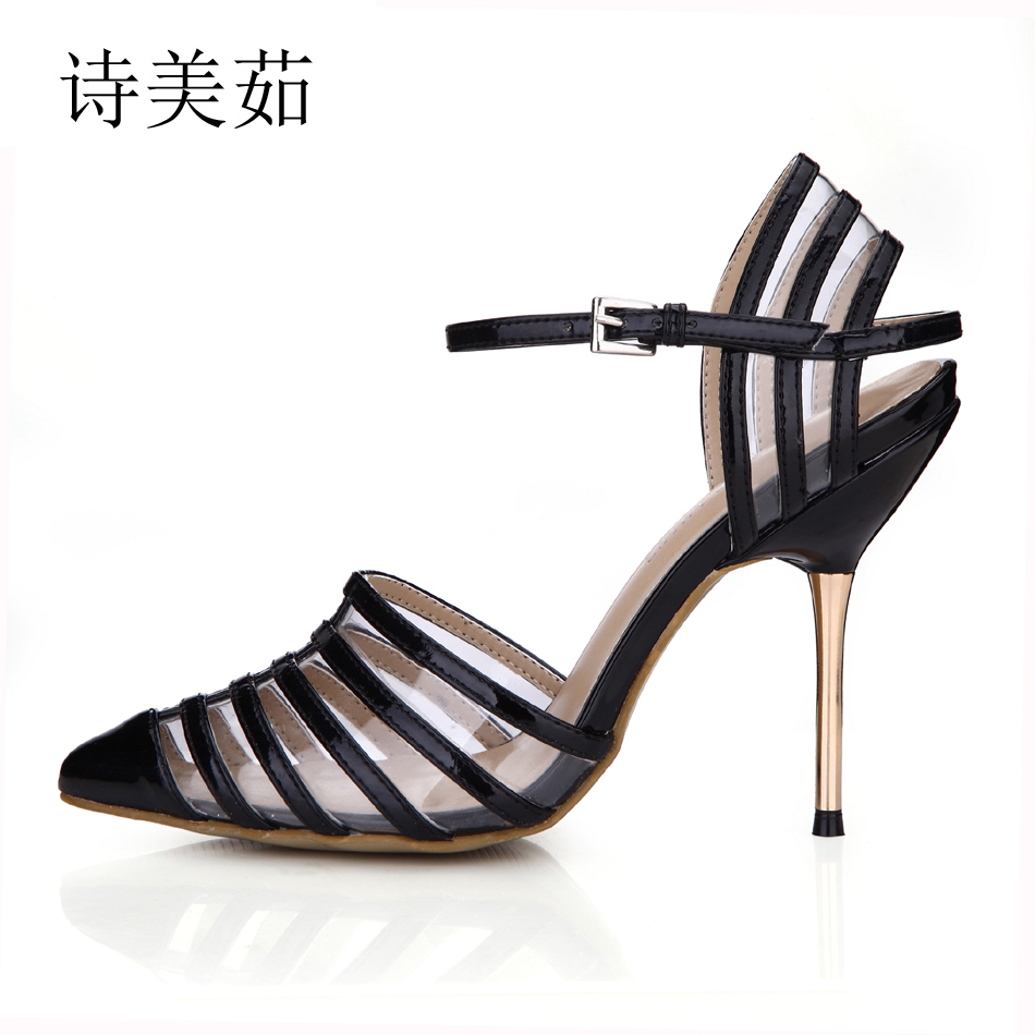 2017 hot women metal strappy pumps sandals high heels wedding shoes stiletto ladies pointy toe high heeled ankle strap shoes 2016 New Black Dress Sexy Party Shoes Women Pointed Toe Stiletto High Heels Wedding Strappy Ladies Pumps Zapatos Mujer 3845D-6a
